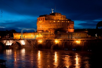 Castel Sant'Angelo at night, Rome, Italy