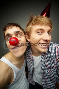 Guys at fool party