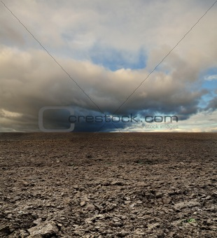 potato field before rain under blue sky landscape