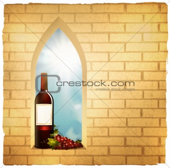 wine bottle in arc window