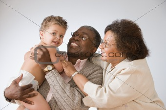 Baby boy with grandparents