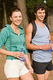 Sporty couple in the forest