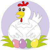 The hen hatches out the painted eggs