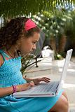Girl using laptop computer