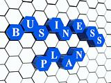 business plan - blue hexahedrons in cellular structure