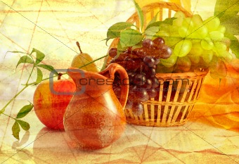 grunge background with fruits