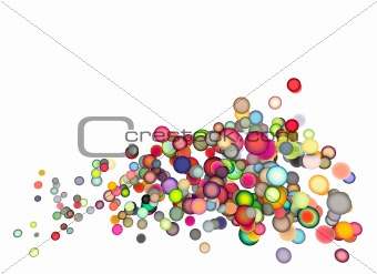 3d render strings of floating balls in multiple colors