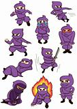A set of cute cartoon ninja characters in different motions