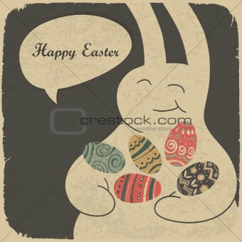 Chocolate rabbit and easter eggs. Retro style illustration.