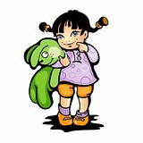 Girl with green bunny