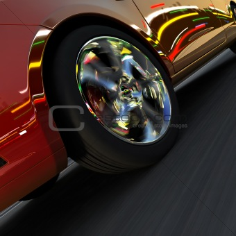 Dynamic racing car and the lights of the city