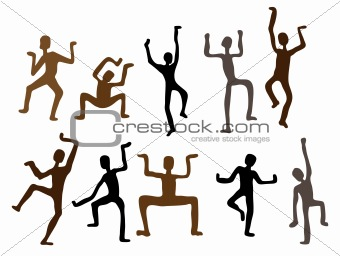 Abstract ethnic dance men. Vector  Illustration
