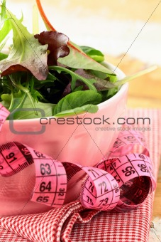 mix salad (arugula, iceberg, red beet) with a pink measuring tape