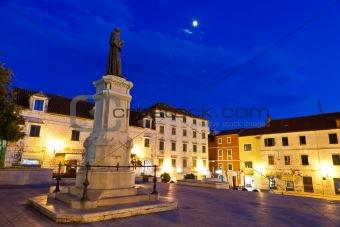 Central Square of Small Town Makarska in Dalmatia, Croatia