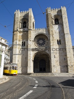 Lisbon Cathedral With Streetcar