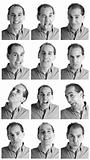Adult man face expressions composite composite black and white.