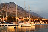 Adriatic Sunset and Marina in Baska Voda, Croatia