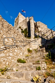 Old Pirate Castle in the Town of Omis, Croatia
