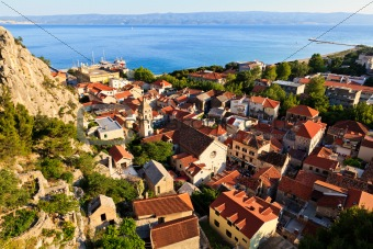 Panorama of Old Pirate Town Omis and Holy Spirit Church, Croatia