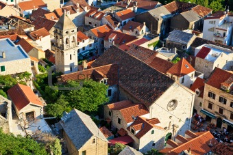 Panorama of Old Town Omis and Holy Spirit Church, Croatia