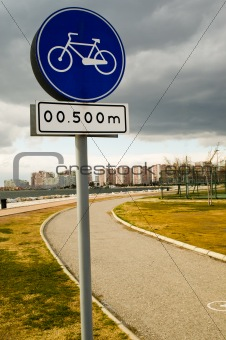 Cycling sign with bike track in the urban