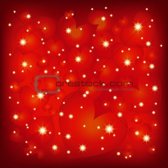 Abstract St Valentine sparkly red heart shape background