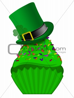 St Patricks Day Cupcake with Colorful Sprinkles