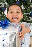 Young boy with large christmas gift