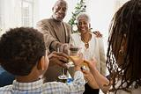 Children and grandparents toasting
