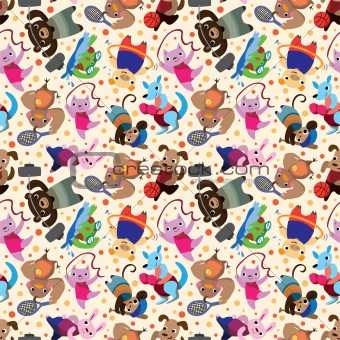 animal sport player seamless pattern