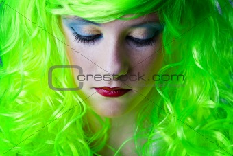 green fairy girl head down