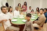 Large family at dining table