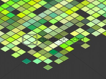 3d render top view green colored cubes on gray