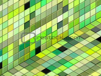 3d render mixed green tiled wall floor pavement