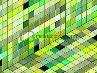 3d render mixed green tiled wall floor pavement