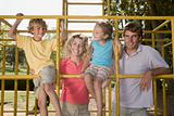 Family on a climbing frame