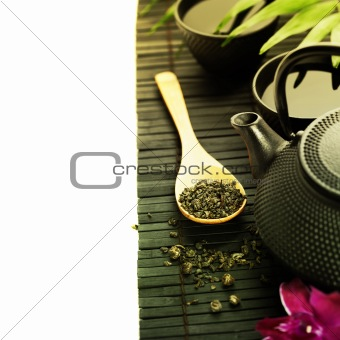 Green tea and chopsticks