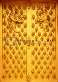 Buddhist decoration on a door in a temple