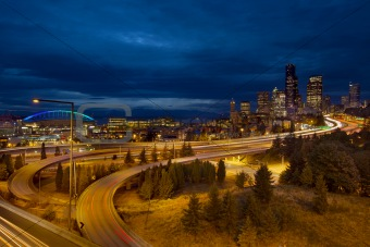 Seattle City Skyline at Blue Hour