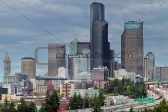 Seattle City Skyline at Rush Hour