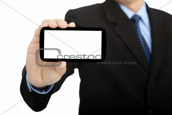 business man holding smart phone and isolated on white