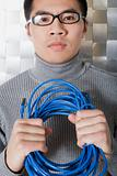 Man holding network cable