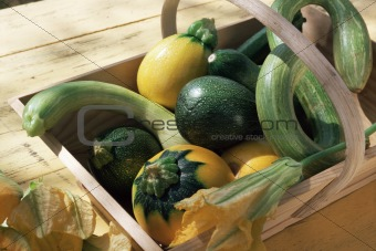 Courgettes in a basket