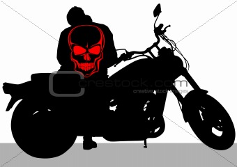 Motorcycle and skull