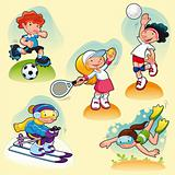 Sport characters with background.