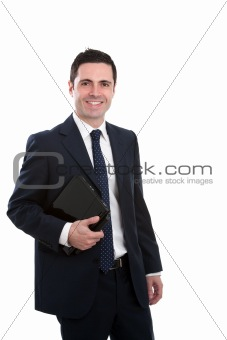Portrait of business man holding laptop