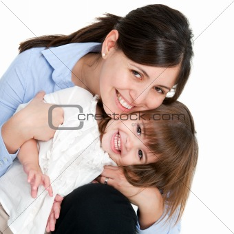 Portrait of friendly mother and daughter