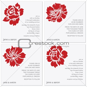 Vector Red Flower Frame Set