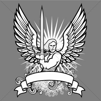 Vector Angel Warrior on Dark Background
