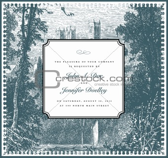 Vector Vintage Landscape Background and Ornate Frame